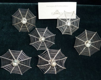 Victorian Spider Web Place Card Holder Set Silver Plate