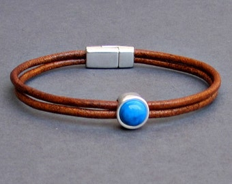 Gemstone Mens Leather Bracelet Dainty Bracelet Silver Bracelet Boyfriend Gift Mens Jewelry customized to your wrist