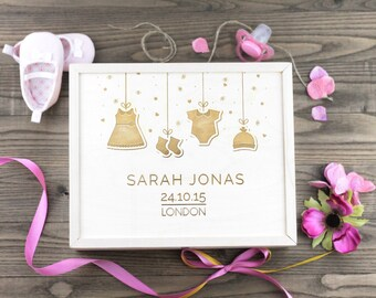 Personalized Wooden Baby Memory Box / Baby Shower / Keepsake / Baby Christening / Gift