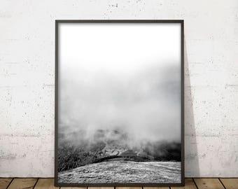 MOUNTAIN WALL ART Print, Mountain Print, Black and White Art, Scandinavian Design, Mountain Clouds Landscape Photography, Digital Download