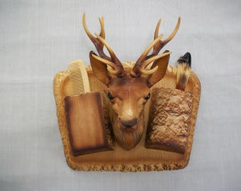 Vintage Mid Century Hard Plastic Deer Head Mount Grooming Caddie Wall Decor