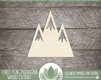 Wood Mountain Laser Cut Shape, DIY Craft Supply, Wood Mountain Cutout, Three Peak Mountain,  Many Size Options, Blank Wood Shapes