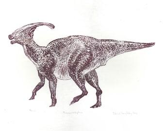 Linocut Parasaurolophus Dinosaur Print - Hand-Printed Lino Block Print of the Well-Loved Duck-Billed Hadrosaur with the Elaborate Head Crest