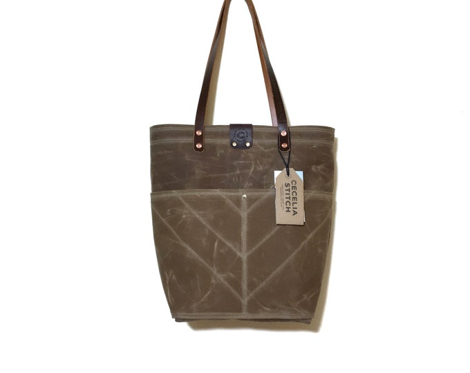 Ready to ship Brush Brown Sophie - Over the shoulder waxed canvas tote