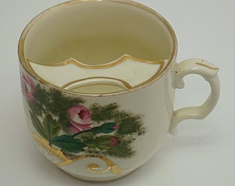 C1870 VICTORIAN German High Quality Porcelain Hand painted flowers Remember Me MOUSTACHE Cup