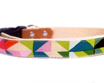 Casa Azul. Eco Friendly, Hemp Dog Collar. by Handmade Green. Small Medium Large.
