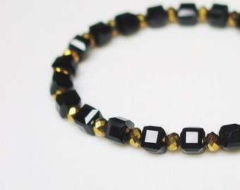 Black Boxes and Gold Crystals Bracelet / Simple / Classic / Gift for Her / Black / Gold / Beautiful / Metallic Gold / Glam / SHINY / Chic