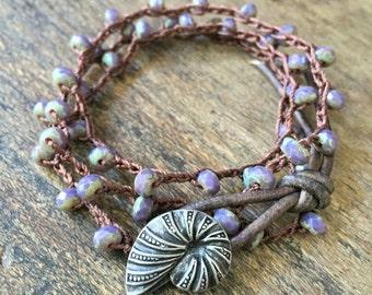 Seashell Crochet Bracelet, Beachcomber, Leather Wrap, Beaded Wrap Bracelet, Beach Boho Jewelry, Silver Boho Bracelet, TwoSilverSisters