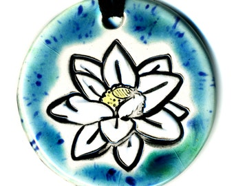 White Lotus Flower Ceramic Necklace in Blue Green