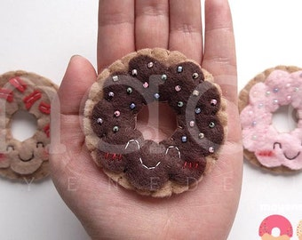 donut brooch with rainbow sprinkles or bacon, felt food pin