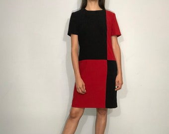 1980s colorblock dress