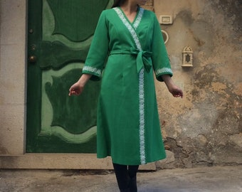 Giacchettino Kimono Dress coat vintage made in Italy years 60/70 Green