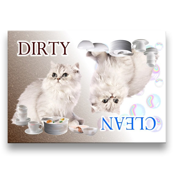 Persian Cat Clean Dirty Dishwasher Magnet No 1
