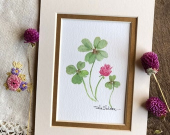 An Original Watercolor, Double Matted Clover Watercolor