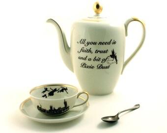 Altered  Peter Pan Vintage Teapot Cup Set Porcelain Pixie Dust Faith Trust Dreams Tinkerbell James Barrie Tea Coffee Big Ben London England
