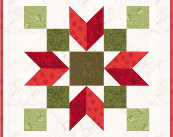 "Christmas Poinsettia 11"" Quilt Block Pattern, PDF, Instant Download, modern patchwork, holiday, festive"