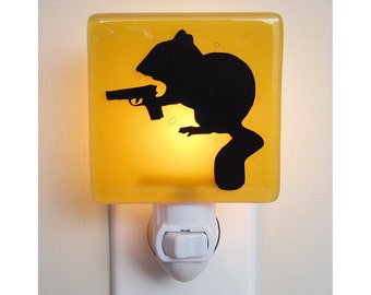 Chipmunk Night Light - Funny Gift - Hand Painted - Fused Glass Nightlight