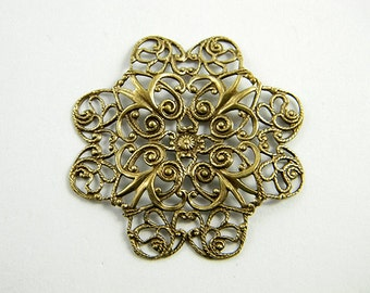 2 pcs. - Brass Flower, Antiqued Brass Ox Filigree, Brass Filigree, Filigree Connector, 38mm - (b127)