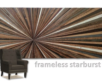 Reclaimed Wood Wall Hanging Art Sculpture Starburst Frameless Large Transistional Rustic Modern Farmhouse Abstract Infinity Point Unique