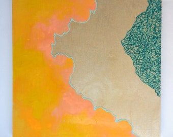 Artifacts Squared - Marbled Abstract - Golden Yellow Coral Teal and Turquoise with White Geos - Lauren Strom - Modern Abstract Landscape