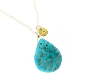 Sleeping Beauty turquoise necklace . bohemian necklace . 14k gold necklace . december birthstone necklace . ready to ship