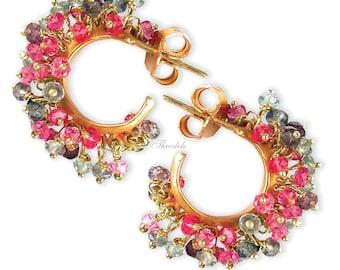 18k Multi-Color Sapphire Hoop/Earrings