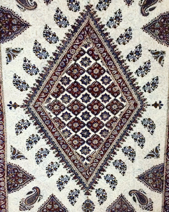 """78"""" inches Oriental Tablecloth, paisley design, block printed fabric - Tapestry or bedspread - Hand Dyed , wall decor"""