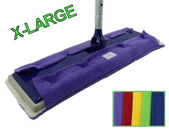 "4 EXTRA LARGE Pads fits 17"" Mops like Swiffer Heavy Duty, Big XL, Max, and Professional. Big Double Sided Reusable Fleece & Terry Cloth Pads"