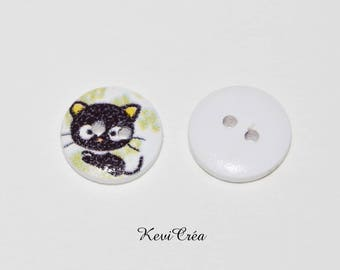 5 x white wood cat buttons 15mm black