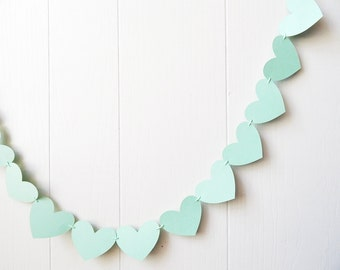 Mint Heart Garland / Light Green Wedding Decoration / Love Bunting / Anniversary Decor / Photo Prop / Adjustable Hand Sewn