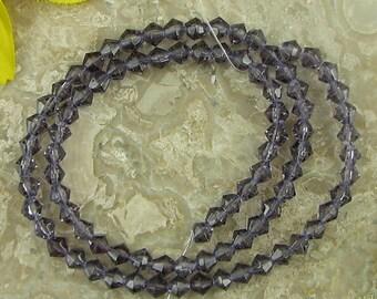 "4mm purple crystal glass bicone beads 13"" strand gemstone 8342"