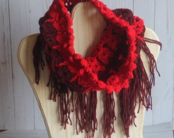 Cherry Cat Cowl crochet scarf with fringe