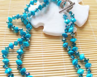 Howlite and AB Crystal Necklace