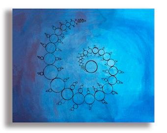 Crop Circles Print - Gouache Print Blue and Purple Sacred Geometry Print Fibonacci Spiral Alien Print Psychedelic Trippy Art Print