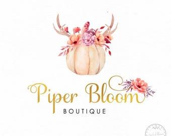 Pumpikin Premade Logo Fall Logo Antlers Boho Flowers Logo Bohemian Logo Photography Custom Shop Logo Business Card Branding Design LD384