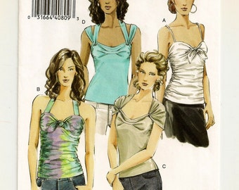 """A Form-Fitting Pullover Top Pattern w/ Neckline, Strap & Rouching Variations for Women: Uncut - Sizes 16-18-20, Bust 38""""-42"""" ~ Vogue 8251"""