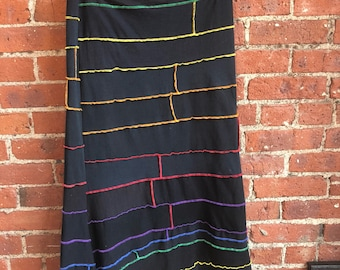 upcycled cotton chakra rainbow skirt- recycled cotton- midi skirt- knee length pencil skirt-  medium