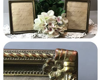 Two Gold Metal Picture Frames, Table Top Frame, Vintage Ornate Photo Frames, Wedding Table Seating Number, Mid Century