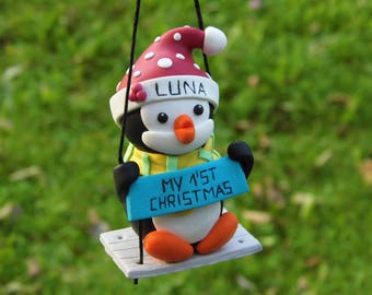 Christmas Ornament Baby, Christmas Ornament Baby first, Christmas Ornament Penguin, Custom Ornament Baby, Christmas ornament personalized