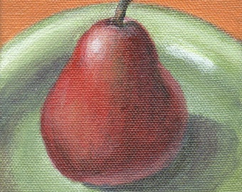 Food Art, Mini Painting on Canvas, Original Small Acrylic Painting for Kitchen Decor, Red Pear on Green Plate