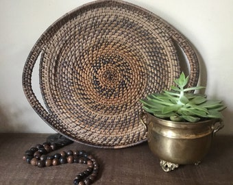 Vintage Woven Basket Woven Wall Decor Woven Wall Hangings Vintage Coil Basket