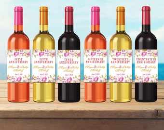 Wedding Milestones / Custom Wine Labels / Personalized Wine Stickers / Wedding Gifts / Anniversary / Gifts for Couple / Watercolor Floral