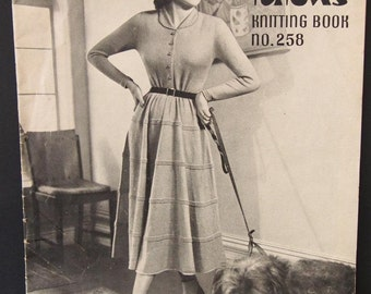 Patons Knitting Book No 258, Vintage Ladies Dresses, Suits, 1940's Ladies Knitted Fashions, Netta, Bluebell Crepe, Azalea