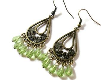 Peridot Green Chandelier Earrings, Crystal Drop Earrings, Bronze, Antique Brass, Beadwork Earrings, August Birthstone Jewelry, Gift for Her
