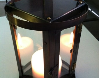 Modern Lantern Style Candle Holder Bronze Patina