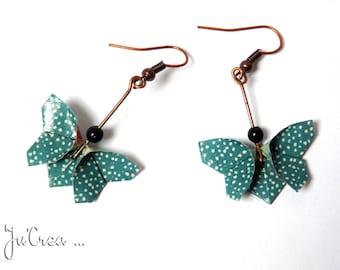 Teal Origami butterfly earrings