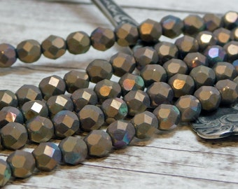 6mm - Czech Glass Beads - Fire Polished Beads - Round Beads - Bronze Beads - Czech Beads - Faceted Beads - 25pcs (5205)