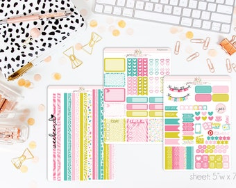 Wild HORIZONTAL Weekly Kit // 130+ Matte Planner Stickers // Perfect for your Erin Condren Life Planner // WKH0110