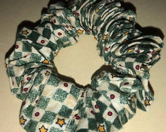 Yellow Stars Red Polka Dots on Green and Creme Checkerboard Christmas Hair Scrunchie