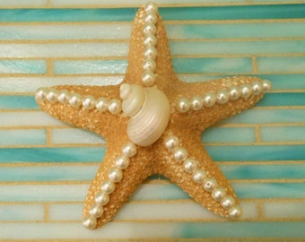 Beach Decor Starfish - Starfish and seashells - Decorated Starfish - Pearled Starfish - Beach Decor - Nautical Decor